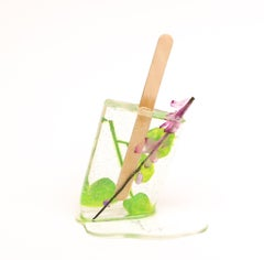 Glittery Purple Flower Popsicle - Original Resin Sculpture by Betsy Enzensberger
