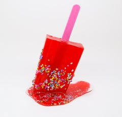 Red Sprinkle Popsicle - Original Resin Sculpture by Betsy Enzensberger