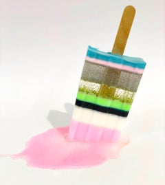 Striped Popsicle with Baby Pink - Original Resin Sculpture by Betsy Enzensberger