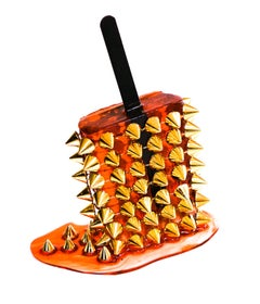 Orange & Gold Spike Popsicle  - Original Resin Sculpture by Betsy Enzensberger