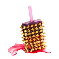 Pink & Gold Spike Popsicle  - Original Resin Sculpture by Betsy Enzensberger