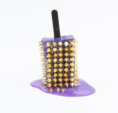 Purple & Gold Spike Popsicle  - Original Resin Sculpture by Betsy Enzensberger