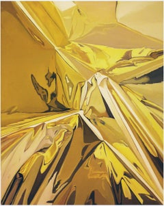 """""""Untitled"""" - Original Oil Painting by Go Woon Choi - Crinkled Gold Foil"""