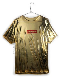 Supreme Tee - Original Pop Art Resin Sculpture by Chris Bakay - Gold