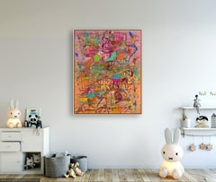 Reunion - Original Abstract Painting by Astrid Francis - bright colors