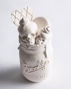Ice Cream Float - Original Porcelain Sculpture by Jacqueline Tse - Skull