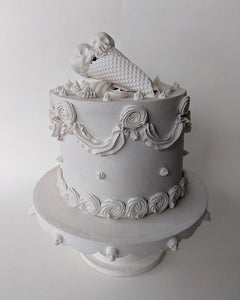 Small Cake w/ Stand - Original Porcelain Sculpture by Jacqueline Tse - Skull