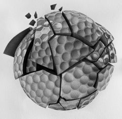 Broken Golf Ball - Stippling, Black and White, Hand Drawing, Original, Ink