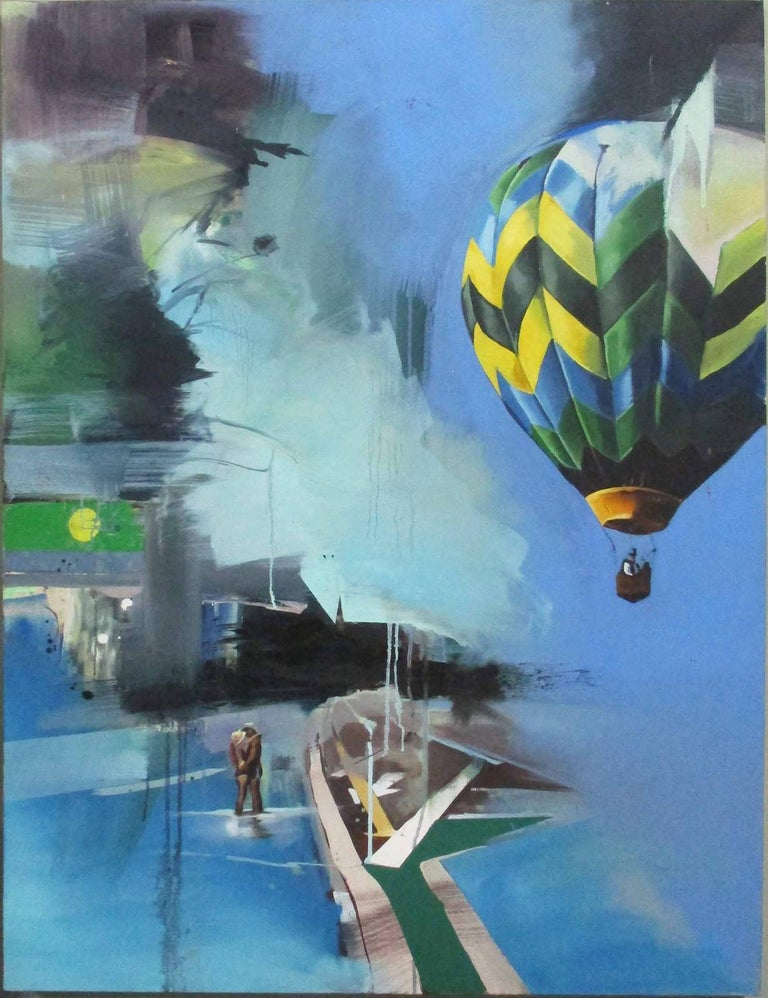 Chloe Early Landscape Painting - Hot Air Balloon - Contemporary, Blue, Original, Canvas, Street Art, Figurative