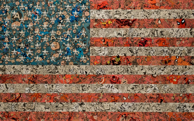 Ben Turnbull Figurative Print - Patriots - American Culture, Pop Culture, Flag, Collage, Comic, USA, Red