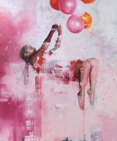 Queen Of The Wild Frontier - Pink, Contemporary, Street Art, Balloon, Girl,