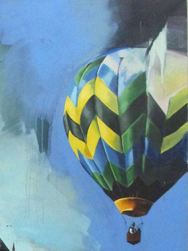 Hot Air Balloon - Contemporary, Blue, Original, Canvas, Street Art, Figurative - Painting by Chloe Early