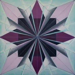 Black Iris IV (Ode to Georgia O'Keeffe), abstract geometric origami oil painting