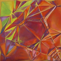 Year of the Dog, abstract geometric origami oil painting