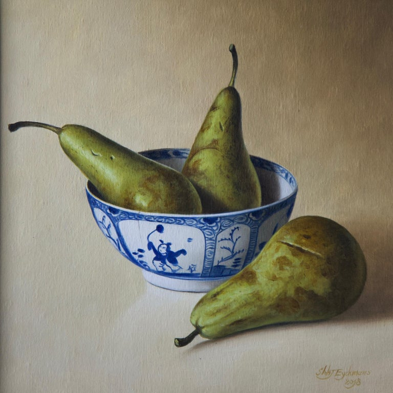 Pears in Chinese Bowl - Painting by Stefaan Eyckmans