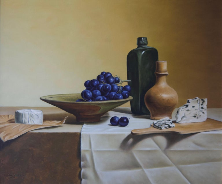 Grapes and French Cheese - Painting by Stefaan Eyckmans
