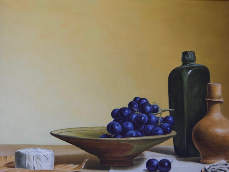 Grapes and French Cheese - Realist Painting by Stefaan Eyckmans