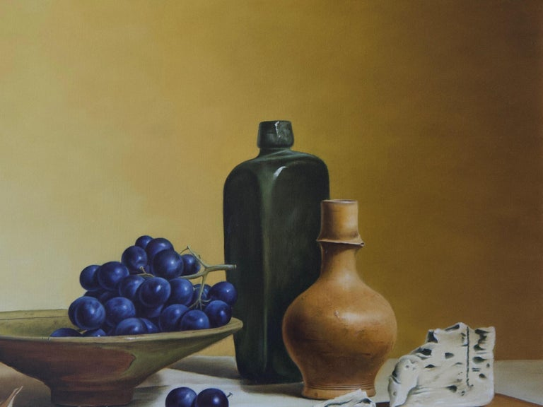 Grapes and French Cheese - Brown Still-Life Painting by Stefaan Eyckmans