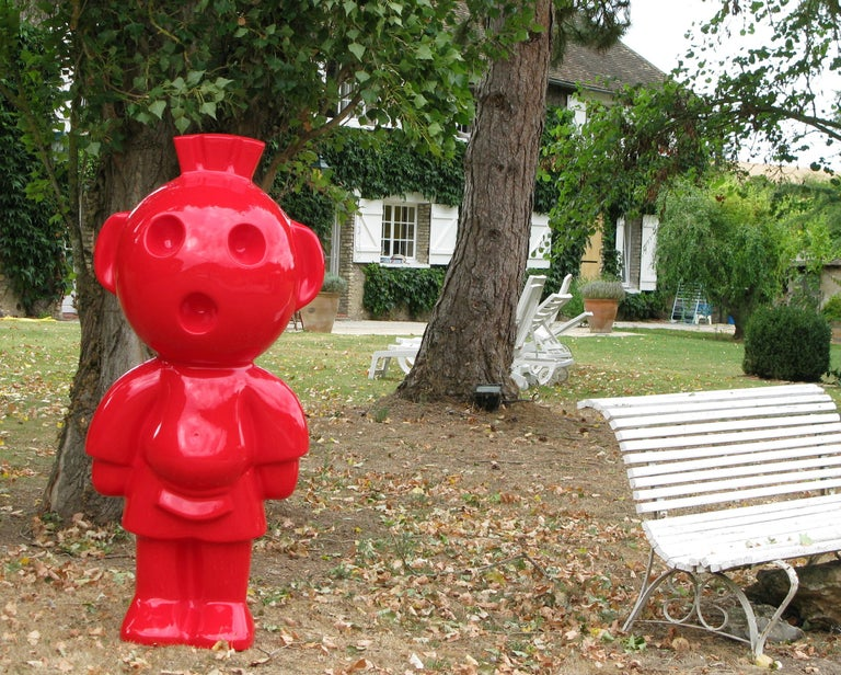 The cheerful smiling Aztek is made of resin, it can fit into an apartment in a garden or on a boat Pop art resin sculpture signed and numbered  Number 15/35 or 16/35  or 17/35  signature engraved by hand at the foot