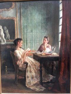 The Reading lesson, oil on panel, signed Leon Marie Dansaert, circa 1870