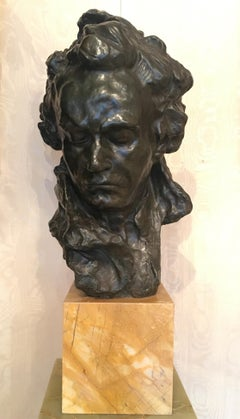 Bust of Beethoven Brown-Green Patina Bronze Sculpture Signed Alfredo PINA