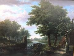 Waterfall landscape signed Eugène Deterre, Bruges circa 1830