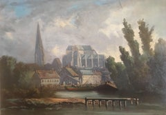 View of the Cathedral of a Normandy City Oil on Board Signed Sorlain
