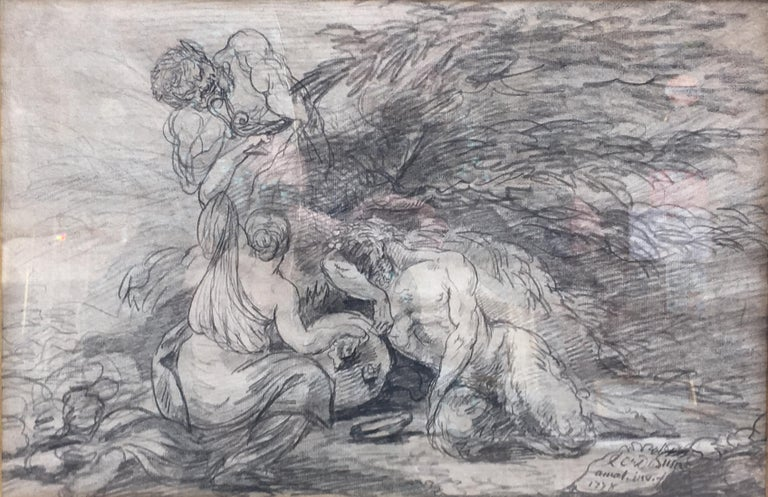 Unknown Figurative Art - Bacchanal scene with nymp and Satyrs, pencil on Paper signed and dated 1778