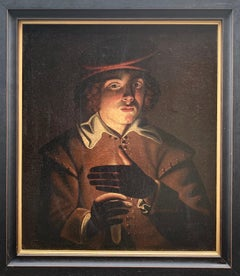 Young Soldier With A Candlelight, Oil On Canvas attributed to Wolfgang Heimbach
