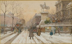 The Paris Hotel de Ville , Watercolor signed Signed E. Galien Laloue, circa 1920