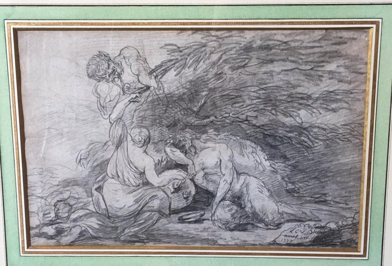 Bacchanal scene with nymp and Satyrs, pencil on Paper signed and dated 1778 - Art by Unknown