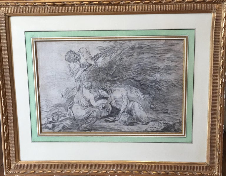 Bacchanal scene with nymp and Satyrs, pencil on Paper signed and dated 1778 - Academic Art by Unknown