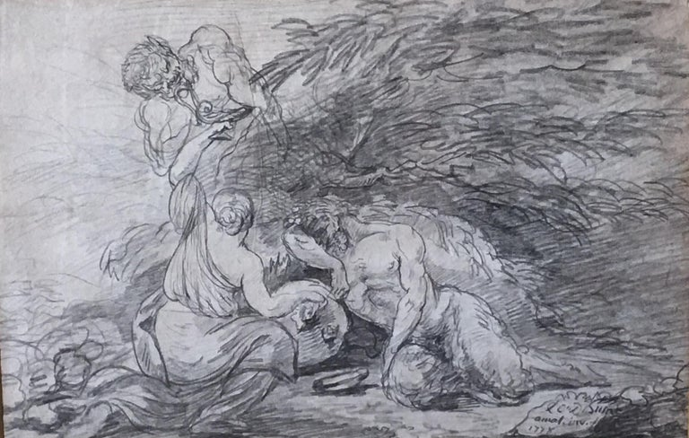 Bacchanal scene with nymp and Satyrs, pencil on Paper signed and dated 1778 For Sale 3