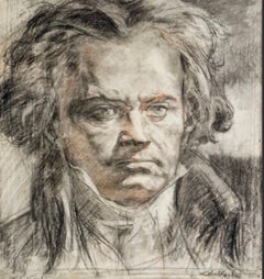 Portrait of Beethoven Charcoal On Paper Signed Alméry Lobel Riche