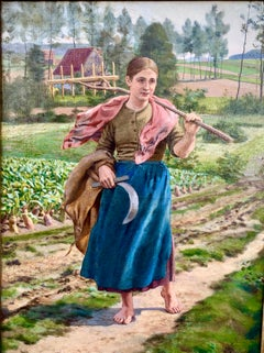 The Gleaner Oil On Canvas Signed Ernest Paulus Circa 1900