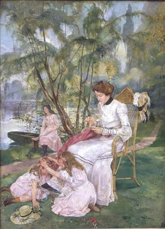 Children playing in the park, oil on canvas signed Joseph Dierickx dated 1903