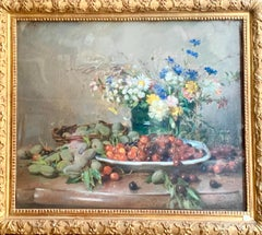 Still Life Of Cherries Plums And Almonds, Pastel, Signed Rivoire, Circa 1880