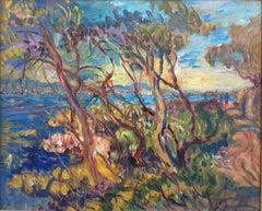 View of the Cap d'Antibes in 1964, Oil on Board Signed Berthe Sourdillon