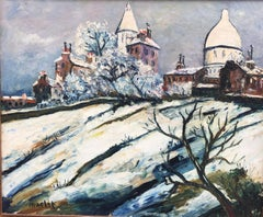 Montmartre Under The Snow, Oil on Canvas Signed Maclet, circa 1930