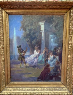 The Masked Ball in the Park, Oil On Canvas, Signed F.J Vernay