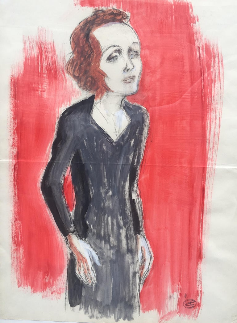Edith Piaf On Stage Watercolor signed Charles Kiffer circa 1935 - Art by Charles Kiffer