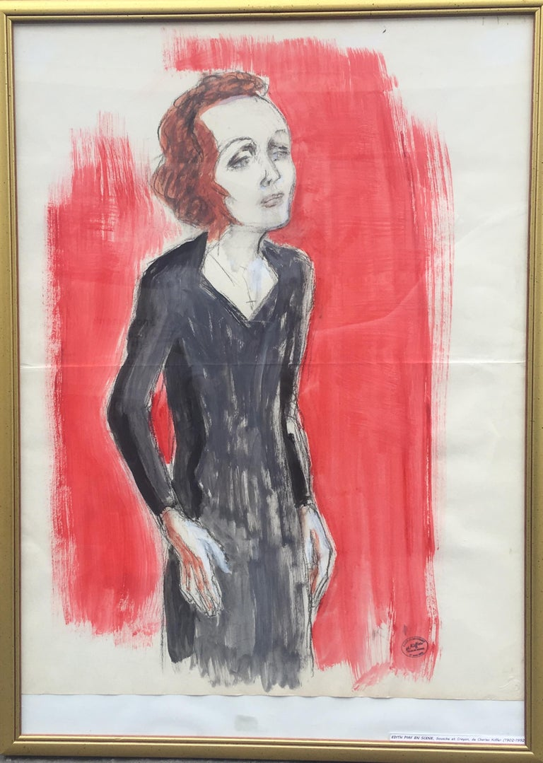 Edith Piaf On Stage Watercolor signed Charles Kiffer circa 1935 - Modern Art by Charles Kiffer