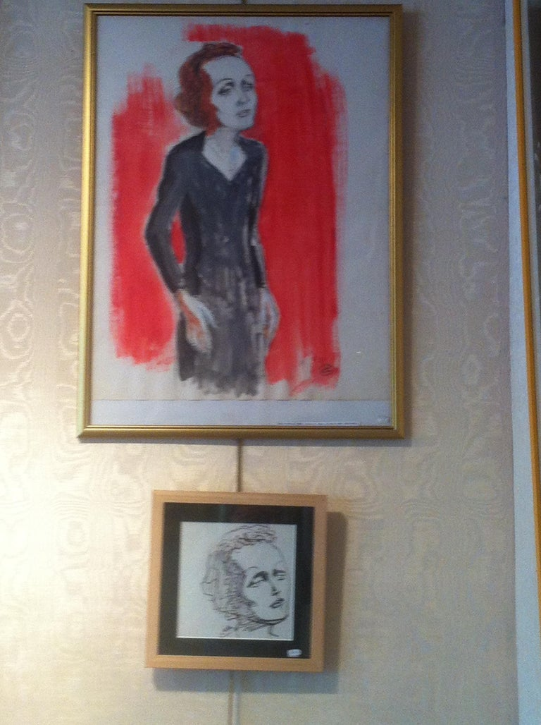 Edith Piaf On Stage Watercolor signed Charles Kiffer circa 1935 For Sale 2