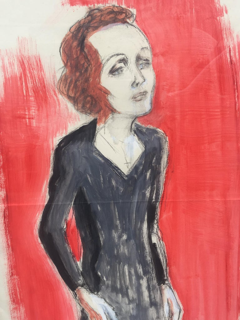 Edith Piaf On Stage Watercolor signed Charles Kiffer circa 1935 For Sale 3