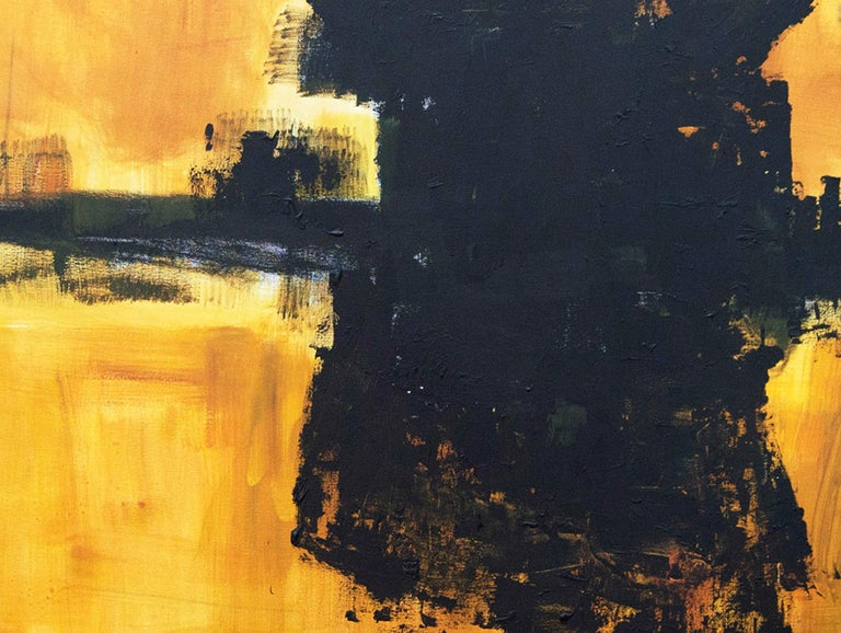 Untitled Black Yellow Abstract Painting Contemporary Art Serafin Llopir