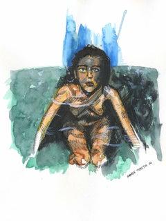 Rosie - Watercolor Painting, Hyperrealism, Art, Nude, 21st Century, Marie Tooth