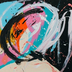 Manu - Abstract Expressionist Painting, Contemporary, Art, Black, Pink Morro
