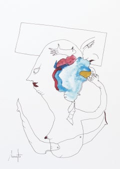 Personajes Postistas 02 - Surrealist Painting, Ink on Paper, Antonio Beneyto