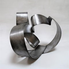 Romp 32 - Metal, Abstract Sculpture, Contemporary, Art, Silver, Rafael Amorós