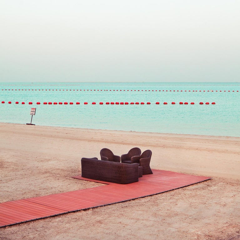 Doha - Fine Art Photography, Landscape, Pink, Contemporary, Art, Roger Grasas - Beige Color Photograph by Roger Grasas